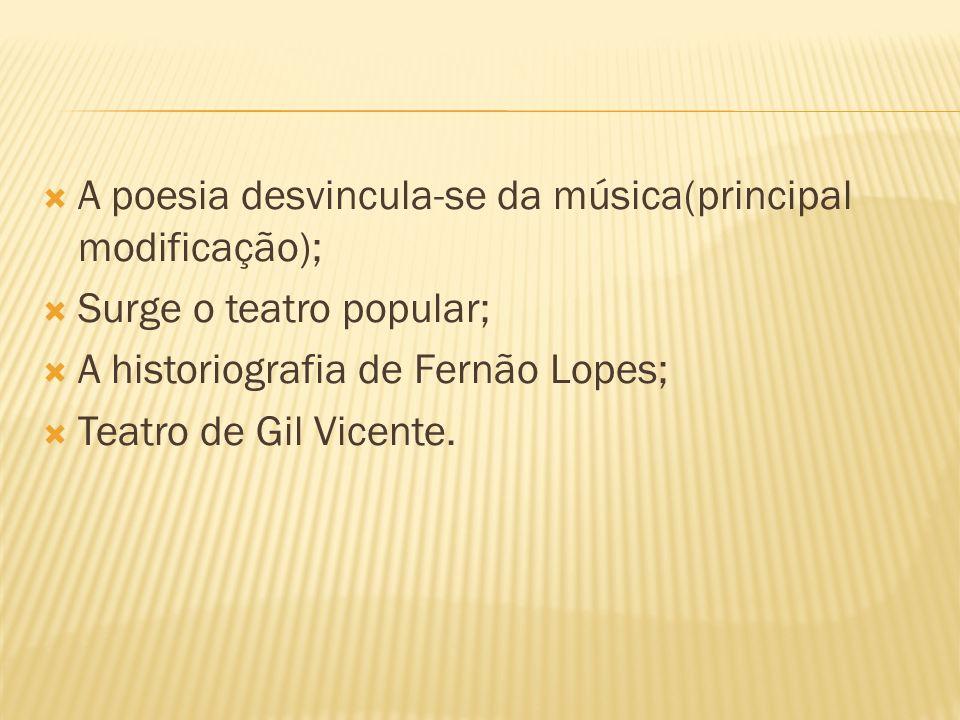 A poesia desvincula-se da música(principal modificação);