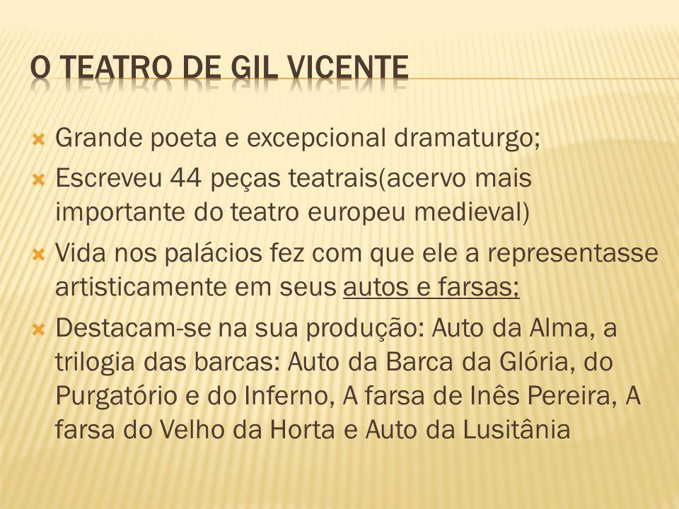O TEATRO DE GIL VICENTE Grande poeta e excepcional dramaturgo;