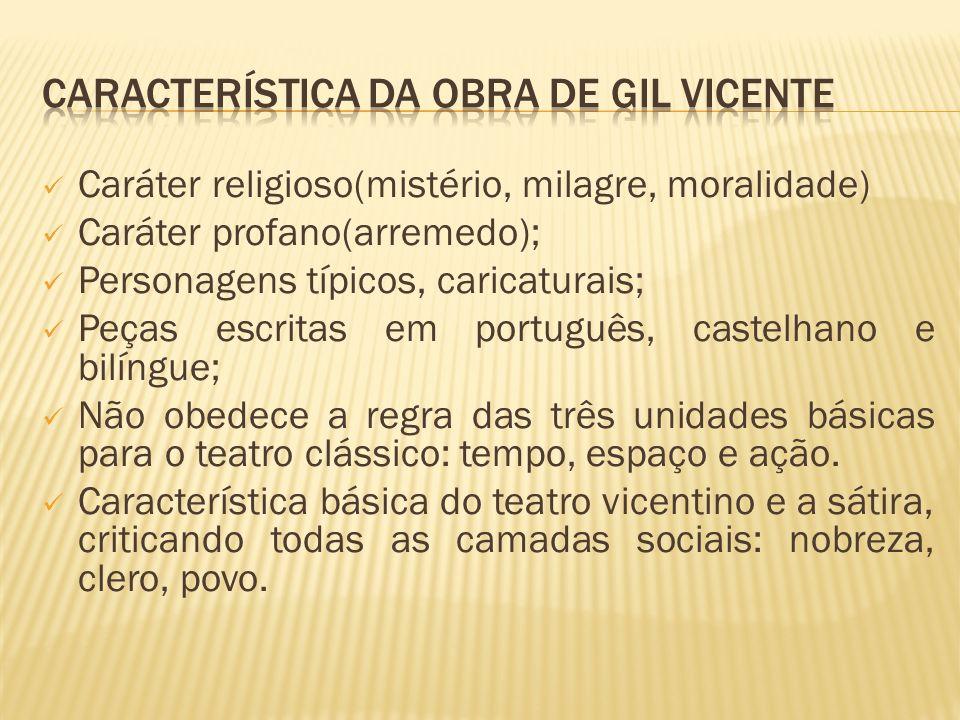 CARACTERÍSTICA DA OBRA DE GIL VICENTE