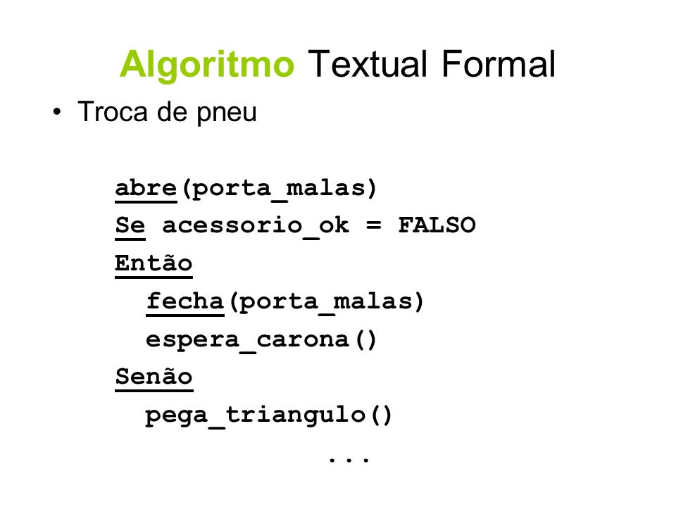 Algoritmo Textual Formal