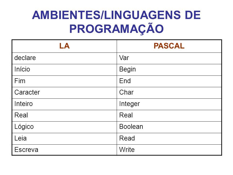 AMBIENTES/LINGUAGENS DE PROGRAMAÇÃO