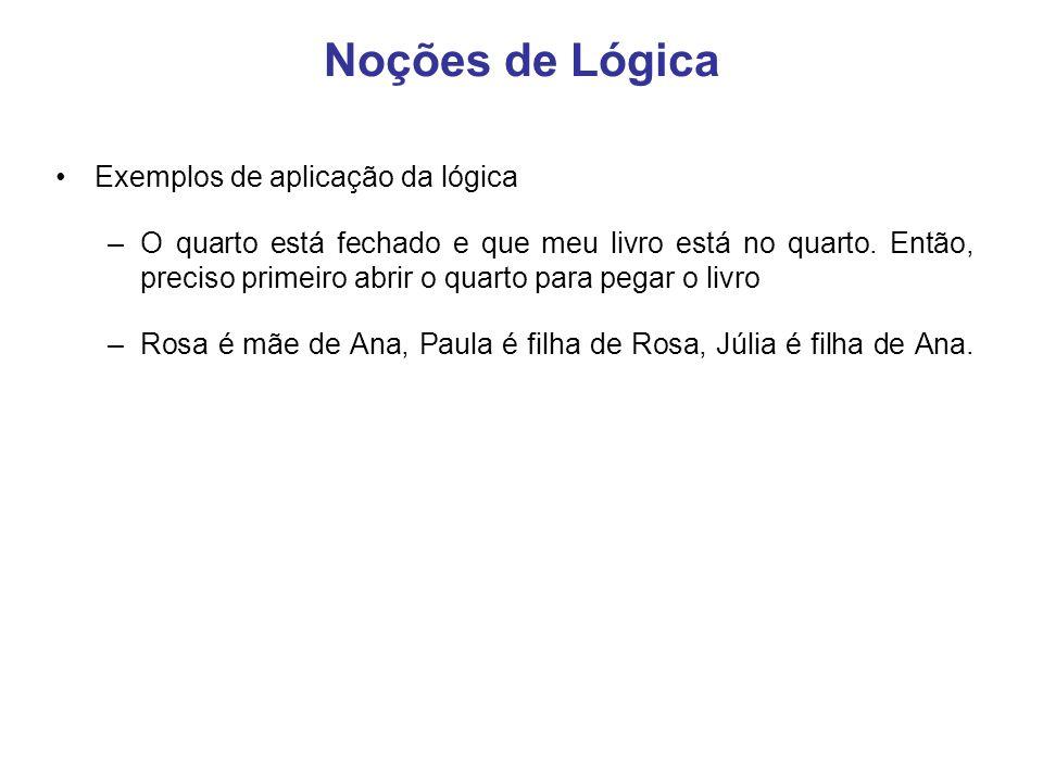 Noções de Lógica Exemplos de aplicação da lógica