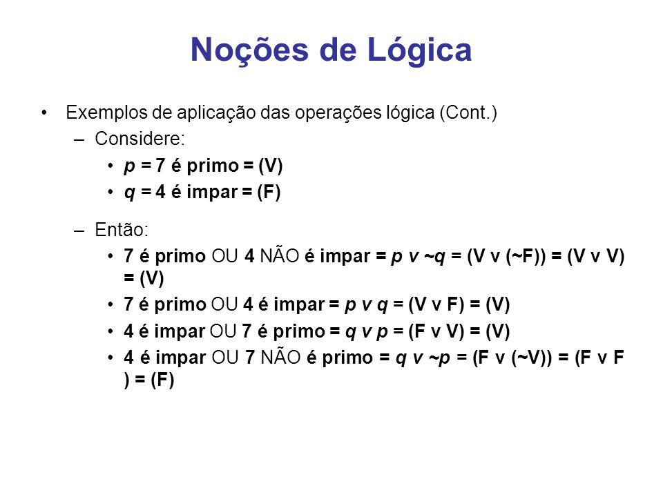 Noções de Lógica Exemplos de aplicação das operações lógica (Cont.)