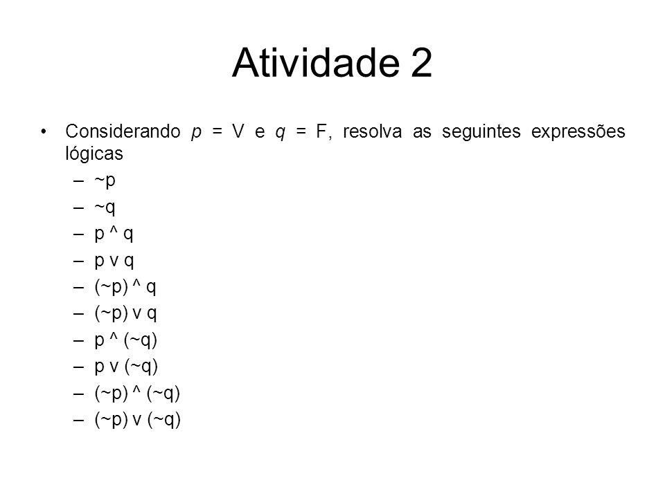 Atividade 2 Considerando p = V e q = F, resolva as seguintes expressões lógicas. ~p. ~q. p ^ q. p v q.