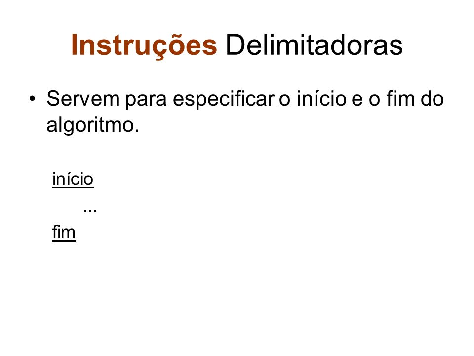 Instruções Delimitadoras