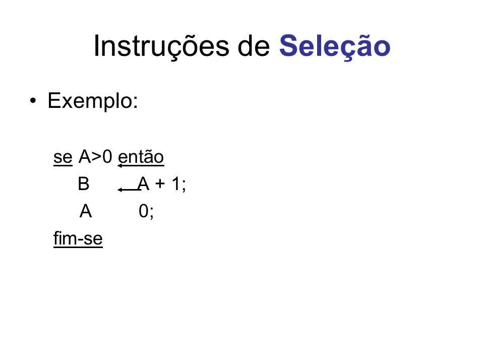 Instruções de Seleção Exemplo: se A>0 então B A + 1; A 0; fim-se