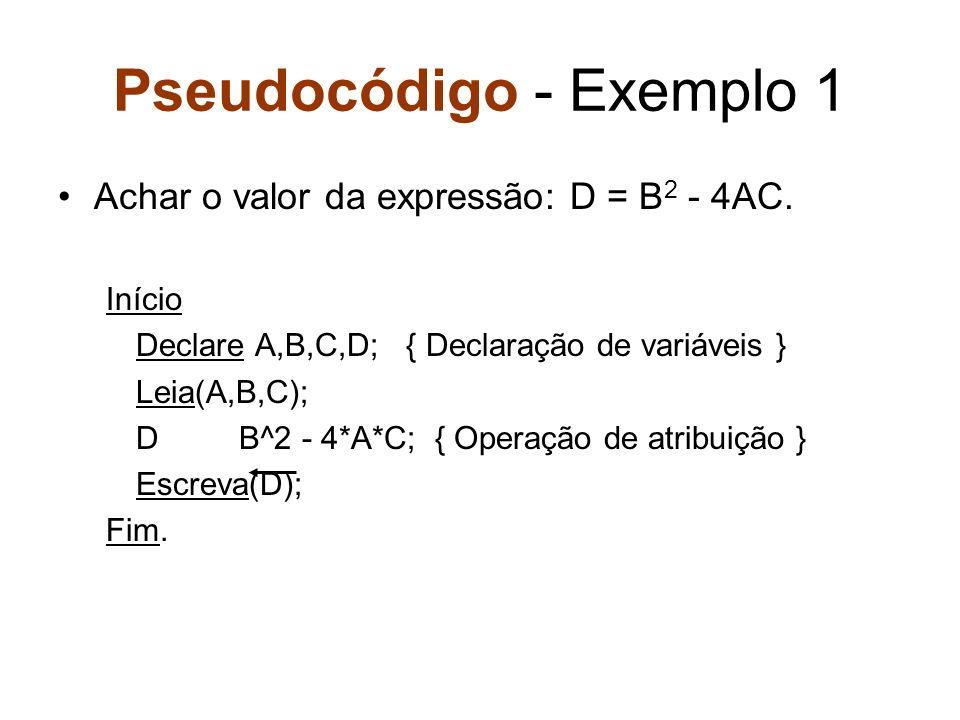 Pseudocódigo - Exemplo 1