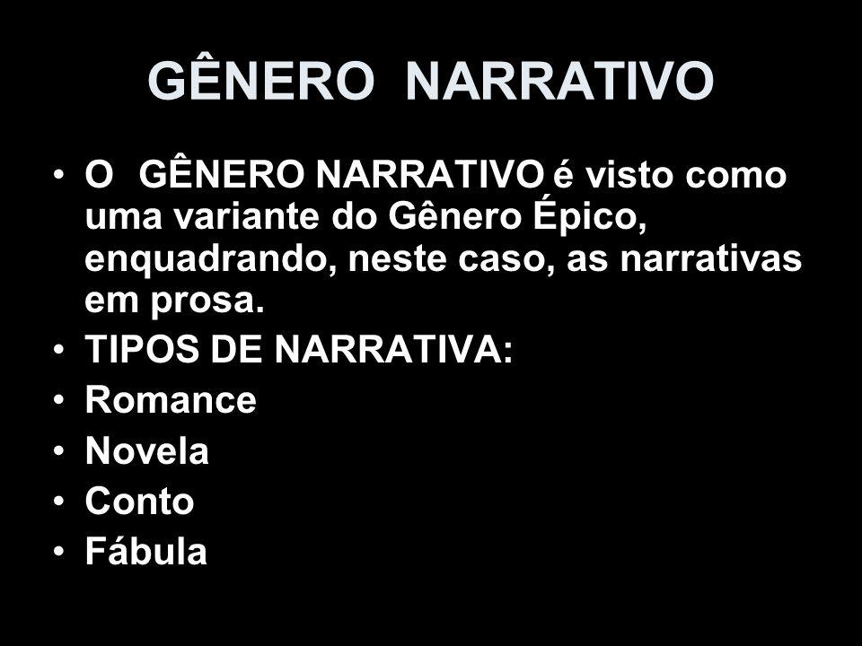 GÊNERO NARRATIVOO GÊNERO NARRATIVO é visto como uma variante do Gênero Épico, enquadrando, neste caso, as narrativas em prosa.