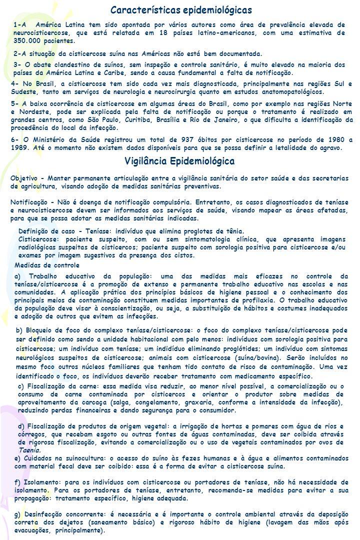 Características epidemiológicas Vigilância Epidemiológica