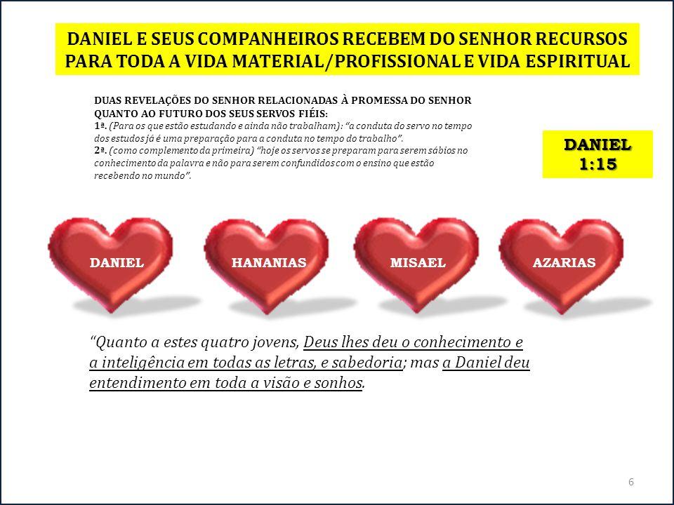 DANIEL E SEUS COMPANHEIROS RECEBEM DO SENHOR RECURSOS PARA TODA A VIDA MATERIAL/PROFISSIONAL E VIDA ESPIRITUAL