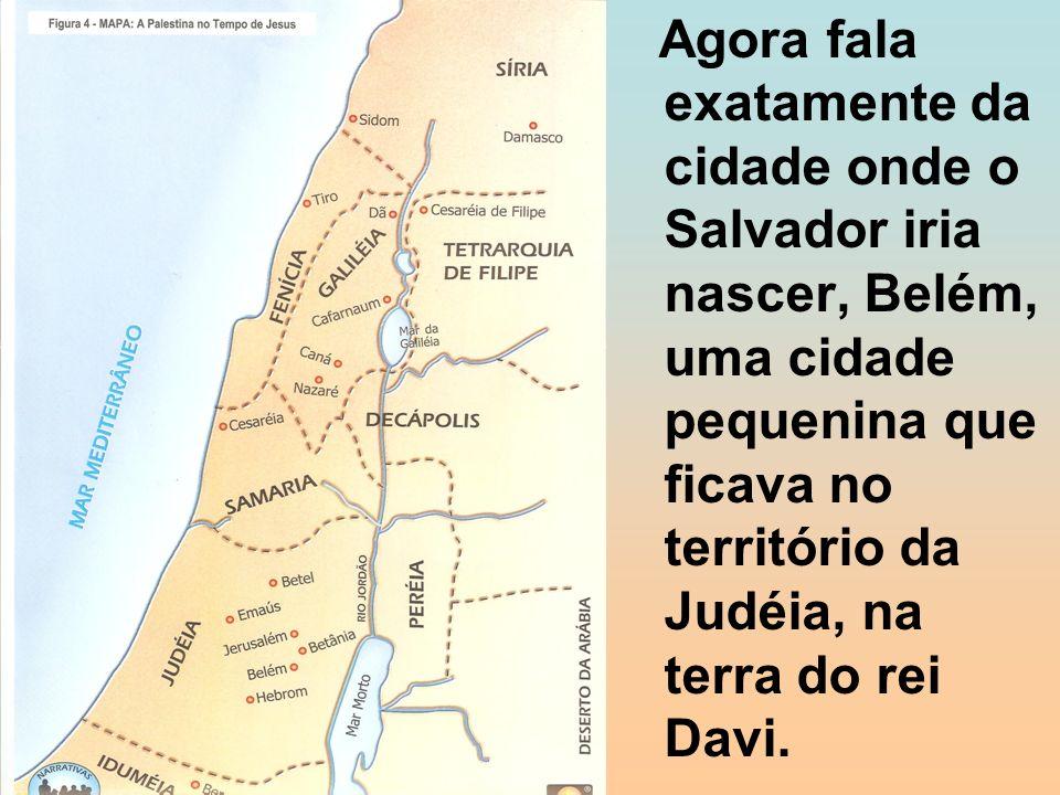 Agora fala exatamente da cidade onde o Salvador iria nascer, Belém, uma cidade pequenina que ficava no território da Judéia, na terra do rei Davi.