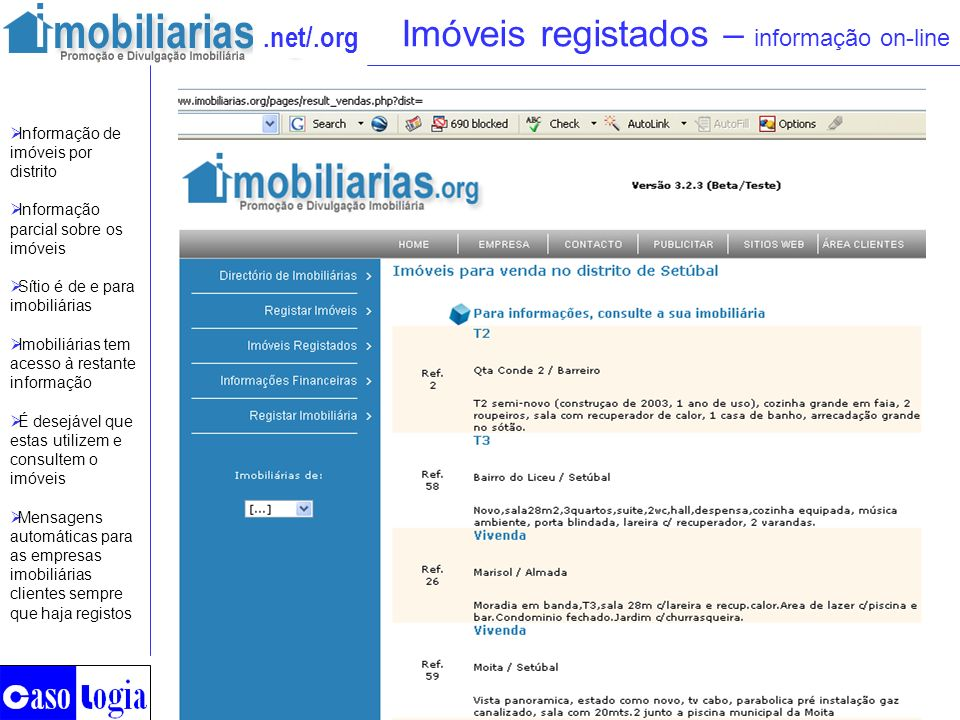 Imóveis registados – informação on-line