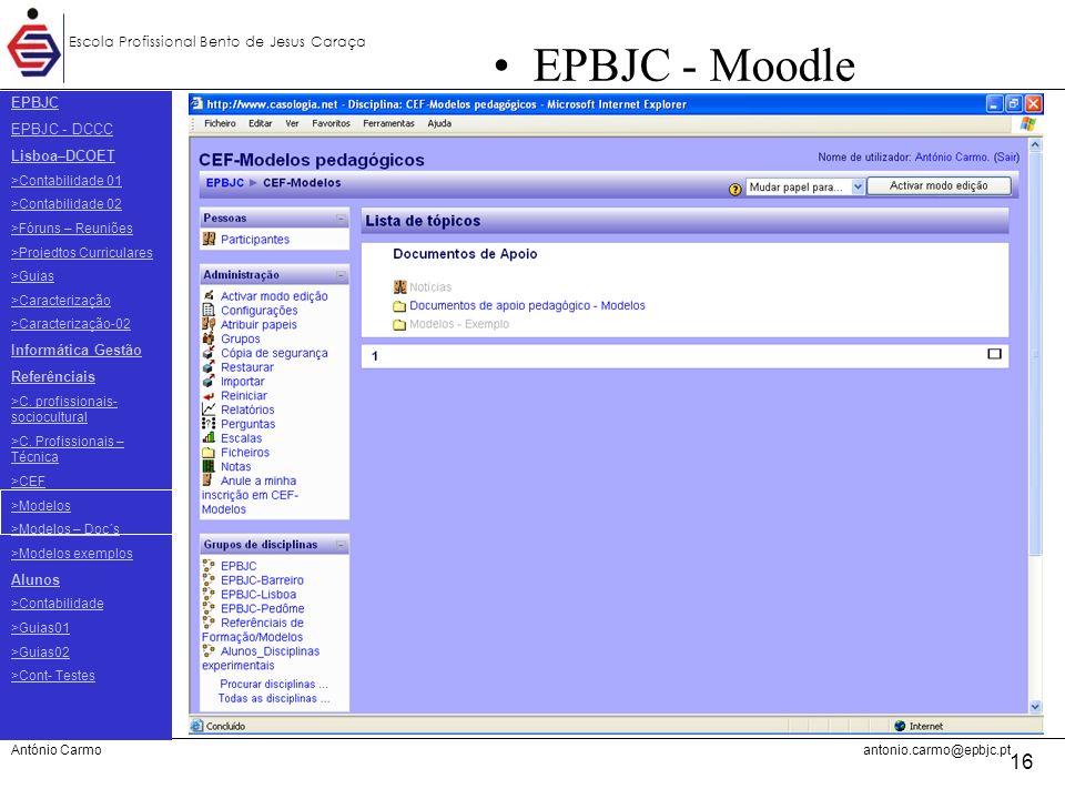 EPBJC EPBJC - DCCC Lisboa–DCOET Informática Gestão Referênciais Alunos