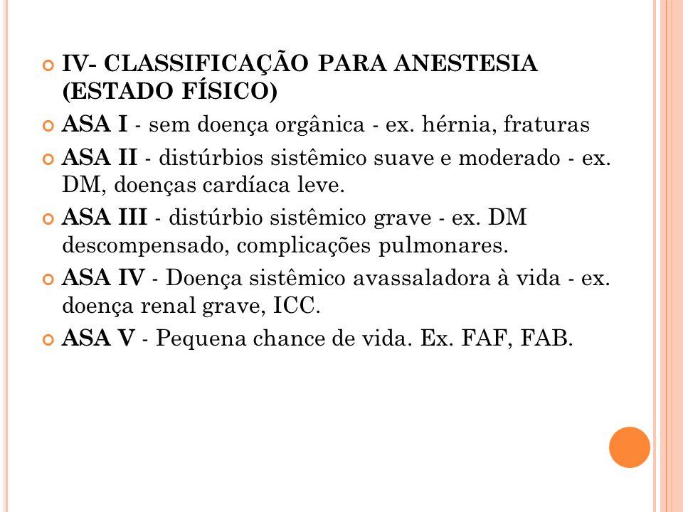 IV- CLASSIFICAÇÃO PARA ANESTESIA (ESTADO FÍSICO)