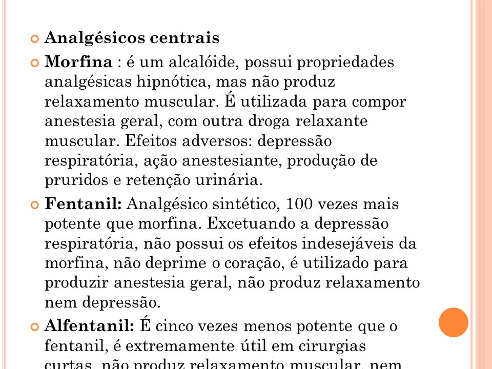 Analgésicos centrais