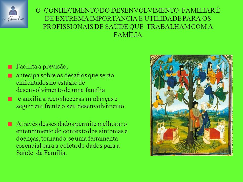 O CONHECIMENTO DO DESENVOLVIMENTO FAMILIAR É DE EXTREMA IMPORTÂNCIA E UTILIDADE PARA OS PROFISSIONAIS DE SAÚDE QUE TRABALHAM COM A FAMÍLIA