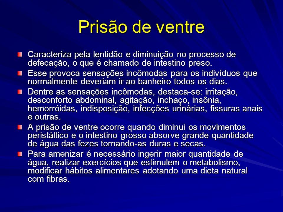 Prisão de ventre Caracteriza pela lentidão e diminuição no processo de defecação, o que é chamado de intestino preso.