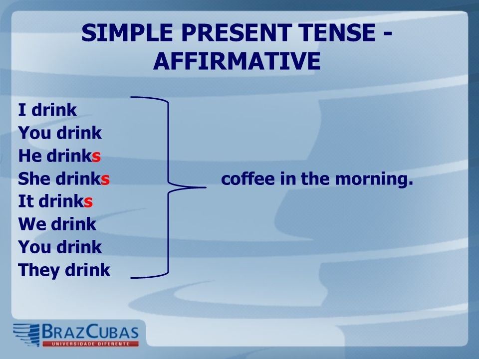 SIMPLE PRESENT TENSE - AFFIRMATIVE