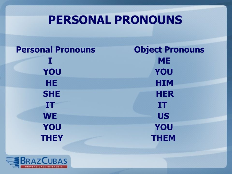 PERSONAL PRONOUNS Personal Pronouns Object Pronouns I ME YOU YOU