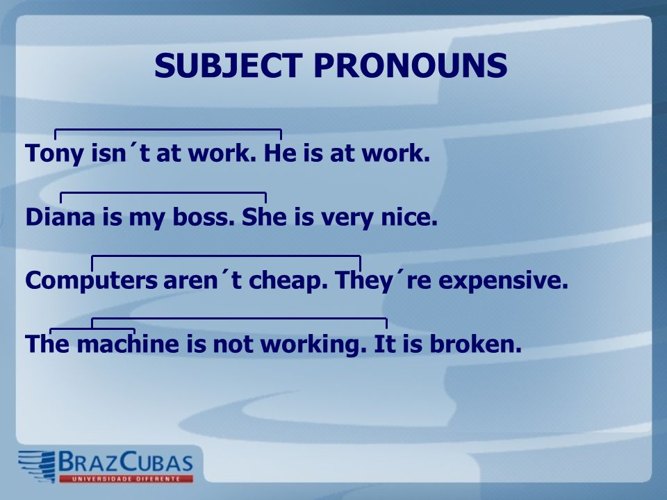 SUBJECT PRONOUNS Tony isn´t at work. He is at work.