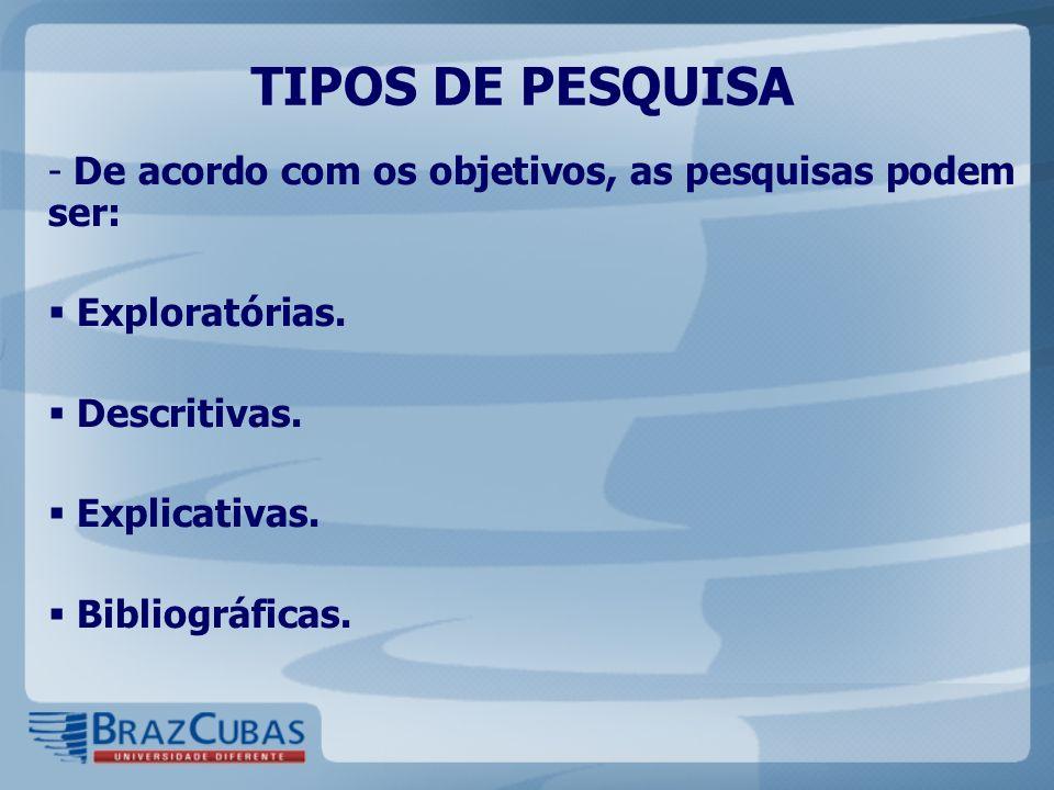 TIPOS DE PESQUISA De acordo com os objetivos, as pesquisas podem ser:
