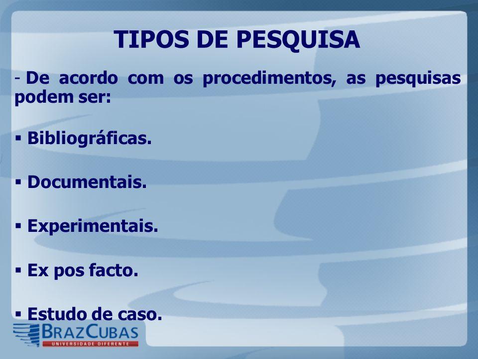 TIPOS DE PESQUISA De acordo com os procedimentos, as pesquisas podem ser: Bibliográficas. Documentais.