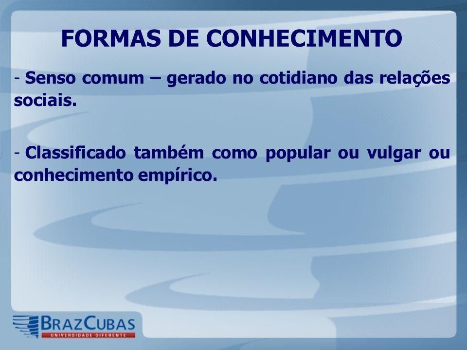 FORMAS DE CONHECIMENTO