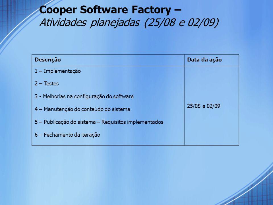 Cooper Software Factory – Atividades planejadas (25/08 e 02/09)