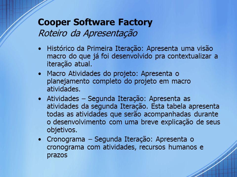 Cooper Software Factory Roteiro da Apresentação