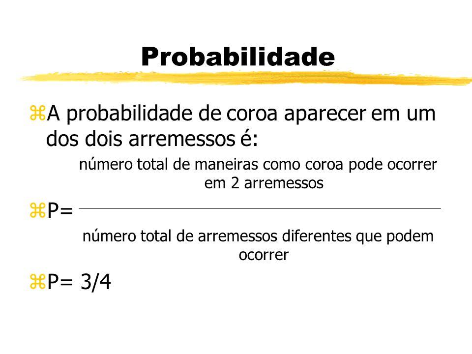 Probabilidade A probabilidade de coroa aparecer em um dos dois arremessos é: número total de maneiras como coroa pode ocorrer em 2 arremessos.