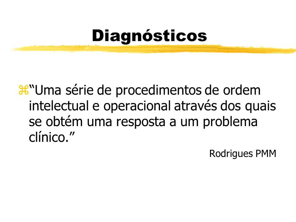 Diagnósticos Uma série de procedimentos de ordem intelectual e operacional através dos quais se obtém uma resposta a um problema clínico.