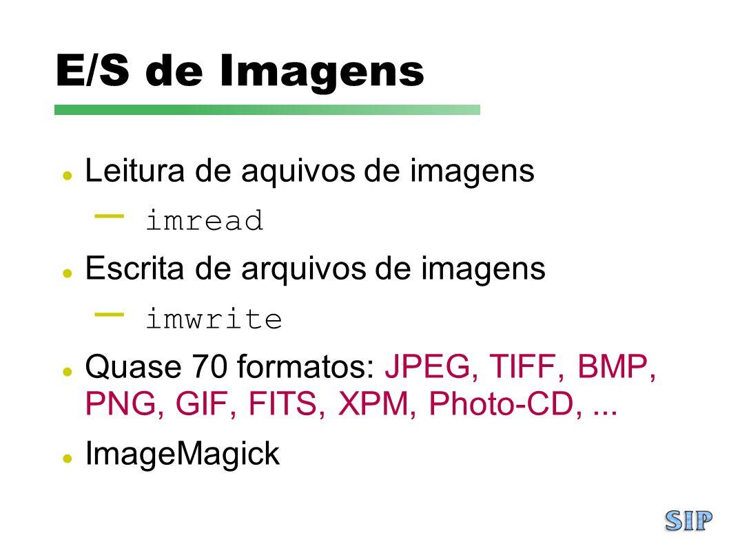 E/S de Imagens Leitura de aquivos de imagens imread