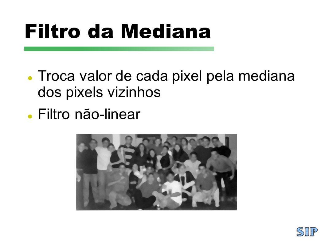 Filtro da Mediana Troca valor de cada pixel pela mediana dos pixels vizinhos Filtro não-linear