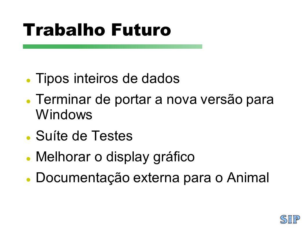 Trabalho Futuro Tipos inteiros de dados