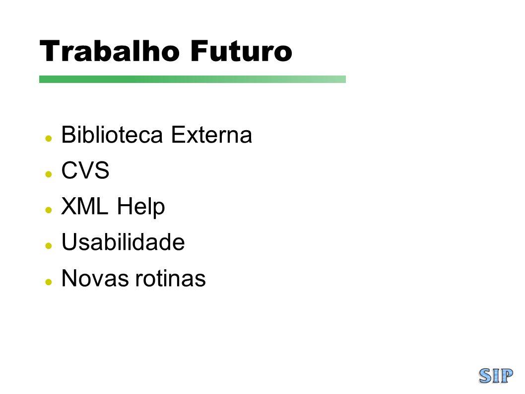Trabalho Futuro Biblioteca Externa CVS XML Help Usabilidade