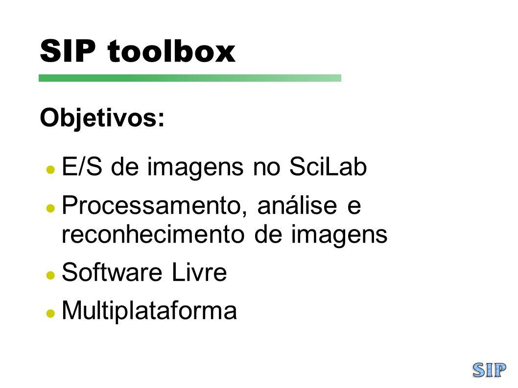SIP toolbox Objetivos: E/S de imagens no SciLab