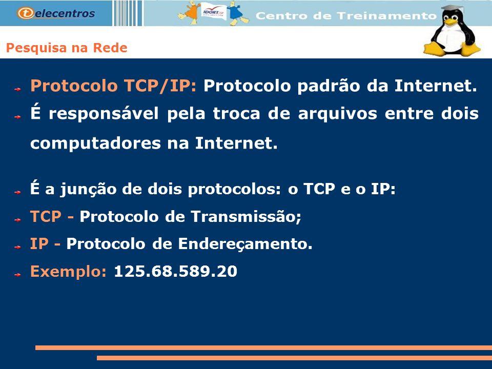 Protocolo TCP/IP: Protocolo padrão da Internet.