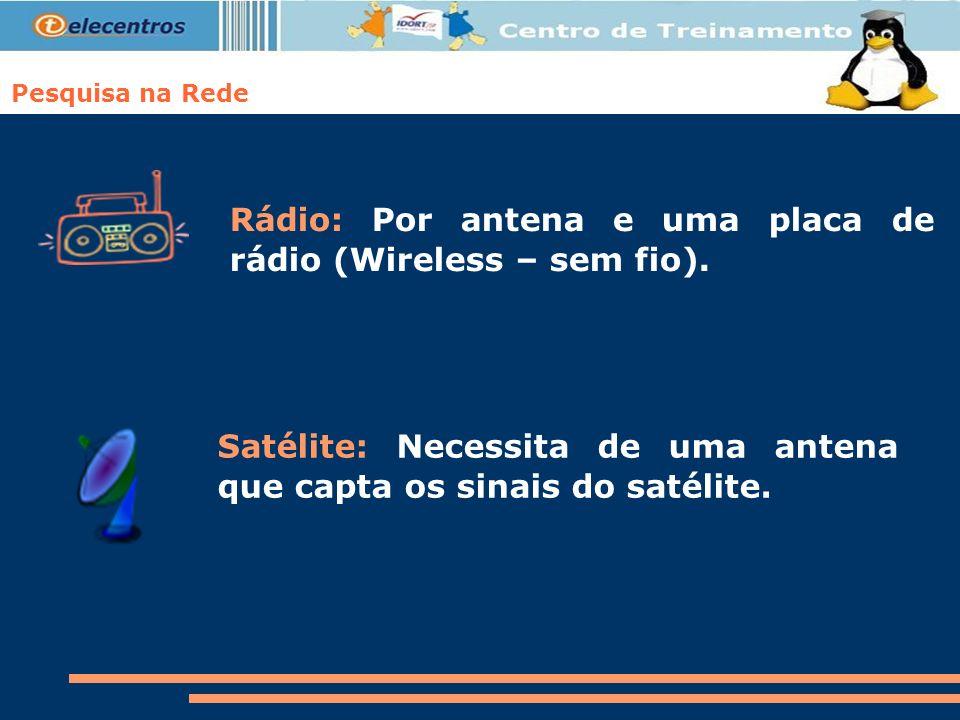 Rádio: Por antena e uma placa de rádio (Wireless – sem fio).