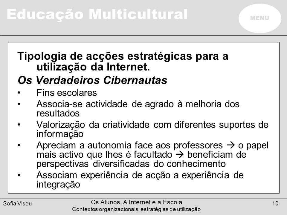 Tipologia de acções estratégicas para a utilização da Internet.
