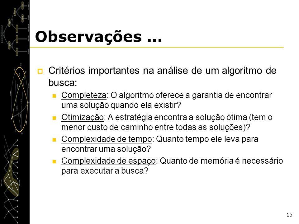 Observações ... Critérios importantes na análise de um algoritmo de busca:
