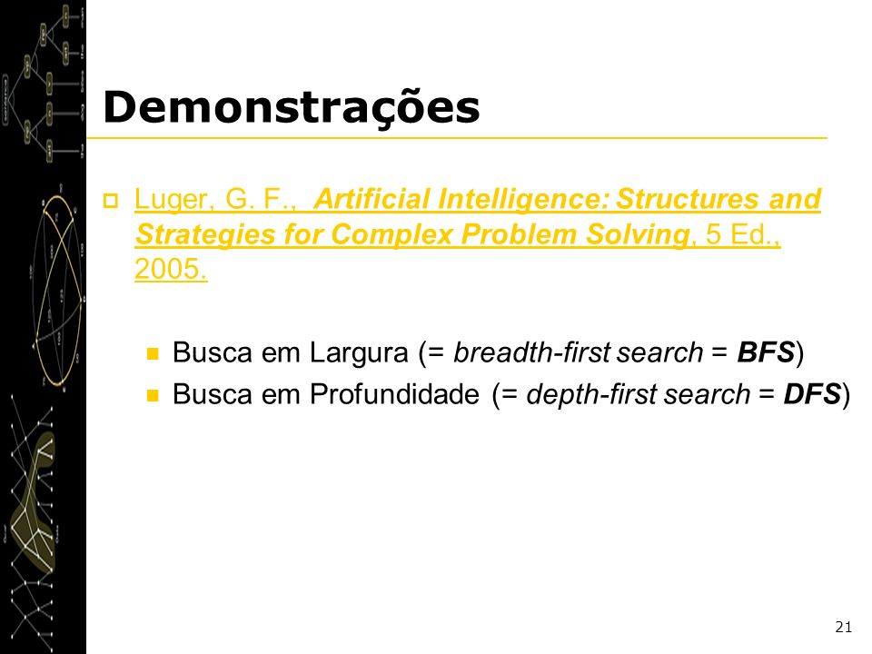 Demonstrações Luger, G. F., Artificial Intelligence: Structures and Strategies for Complex Problem Solving, 5 Ed., 2005.