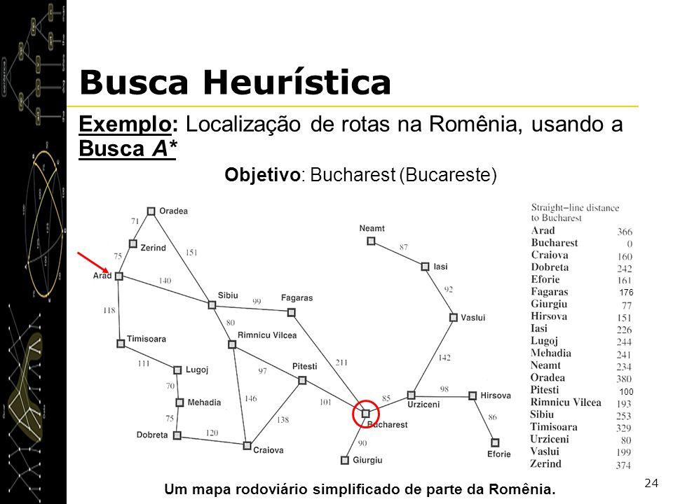 Um mapa rodoviário simplificado de parte da Romênia.
