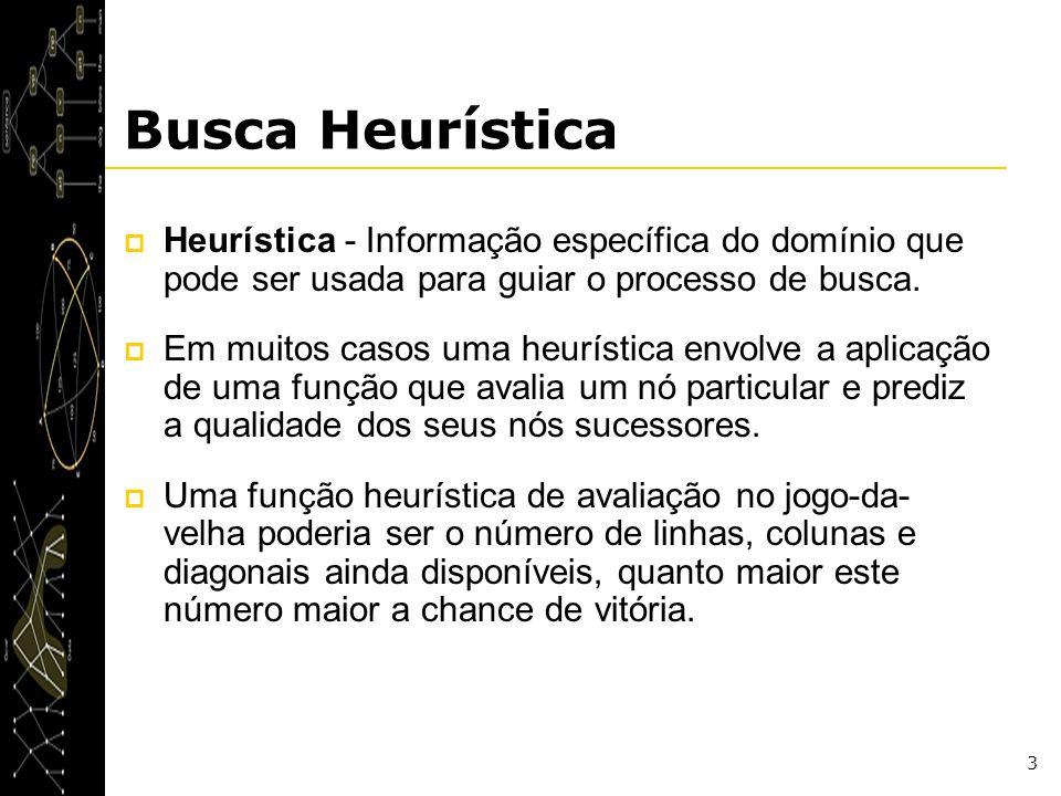 Busca Heurística Heurística - Informação específica do domínio que pode ser usada para guiar o processo de busca.