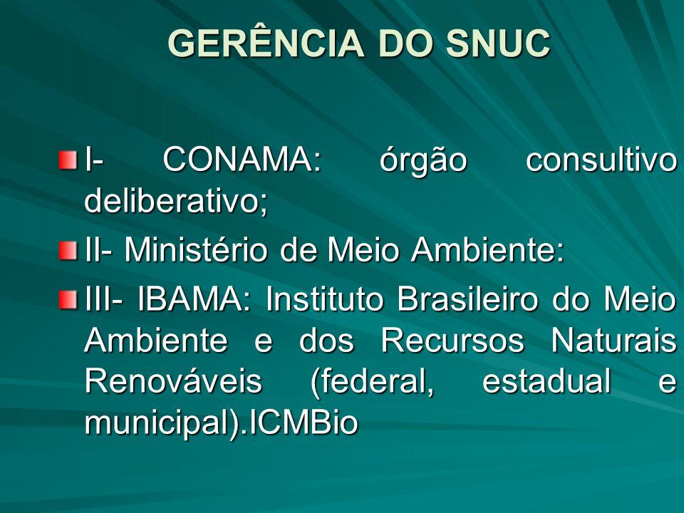 GERÊNCIA DO SNUC I- CONAMA: órgão consultivo deliberativo;
