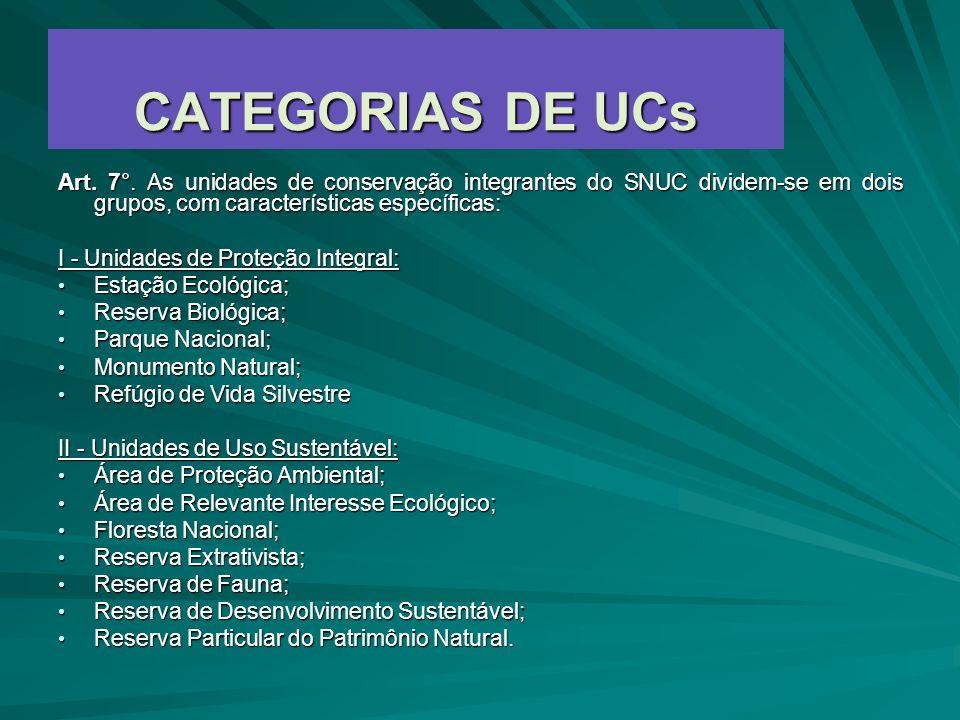CATEGORIAS DE UCs Art. 7°. As unidades de conservação integrantes do SNUC dividem-se em dois grupos, com características específicas: