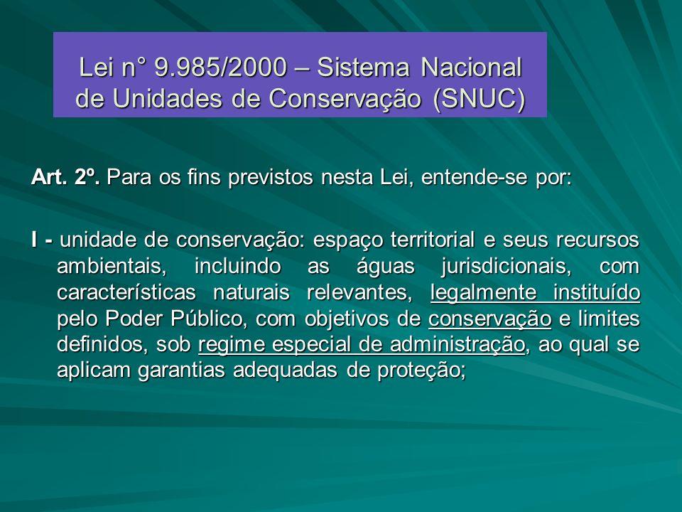 Lei n° 9.985/2000 – Sistema Nacional de Unidades de Conservação (SNUC)