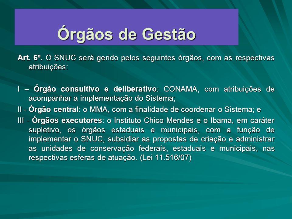 Órgãos de Gestão Art. 6º. O SNUC será gerido pelos seguintes órgãos, com as respectivas atribuições: