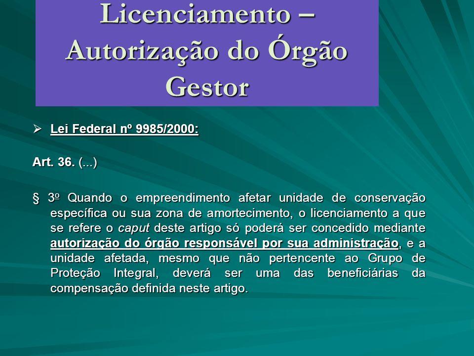 Licenciamento – Autorização do Órgão Gestor