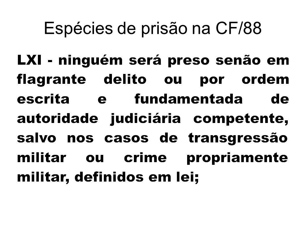 Espécies de prisão na CF/88