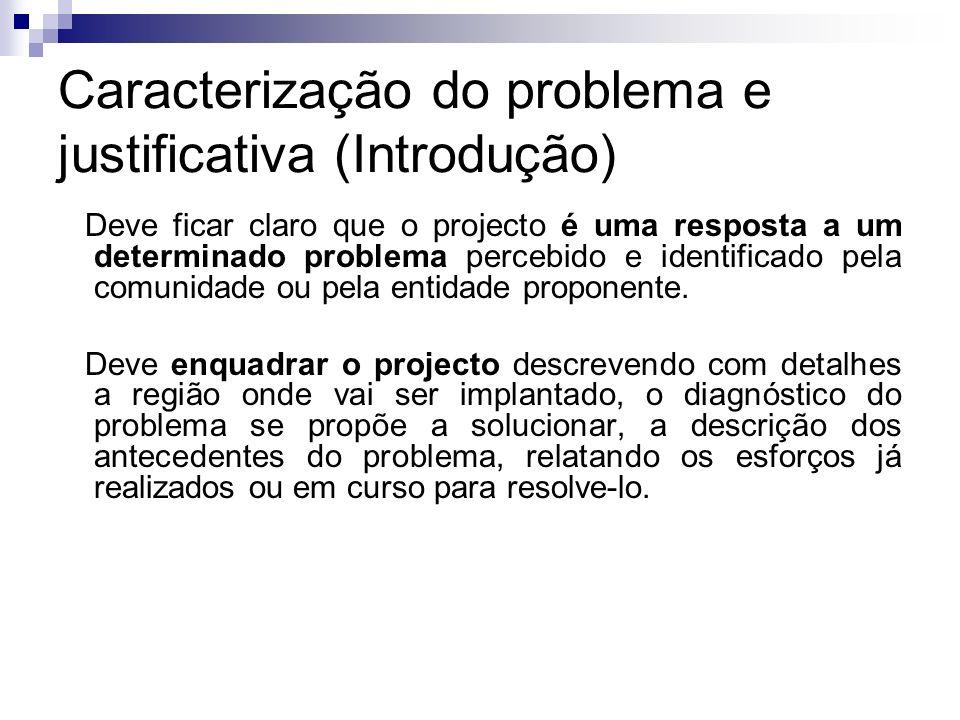 Caracterização do problema e justificativa (Introdução)
